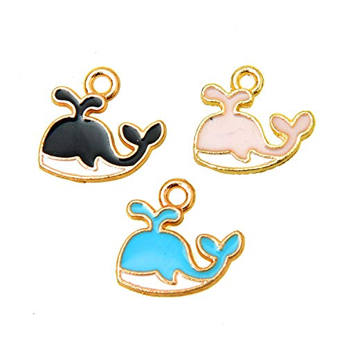 Monrocco 60 Pcs 3 Colors Enamel Whale Charm Pendant Ocean Sea Charms Bulk for Jewelry Making