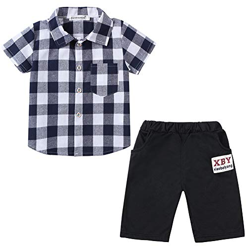 (Keaiyouhuo Toddler Boy's Clothes Short Sleeved Plaid Woven Shirt Letter Shorts Sets)