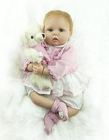 ZIYIUI 22 Pulgadas 55cm Reborn Baby Doll Vinilo de Silicona Suave con Ropa Rosa Lovely Baby Doll