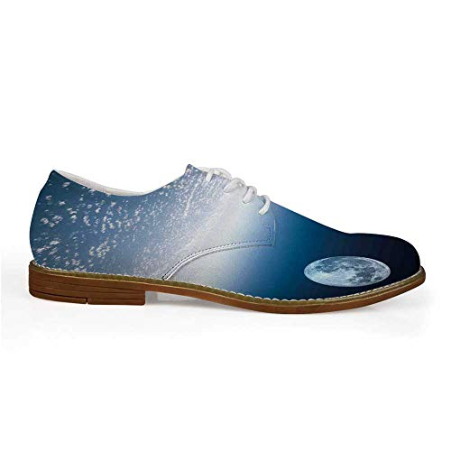 Space Stylish Leather Shoes,Aerial Atmosphere View of The Planet Earth with Moon Satellite World Horizon Picture for Men,US 11