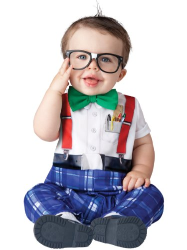 InCharacter Baby Boy's Nursery Nerd Costume, White/Blue, Large (Toddler Nerd Costumes)