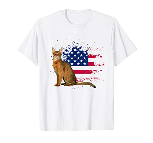 Abyssinian Cat T shirts American Flag Awesome Cool T-Shirt