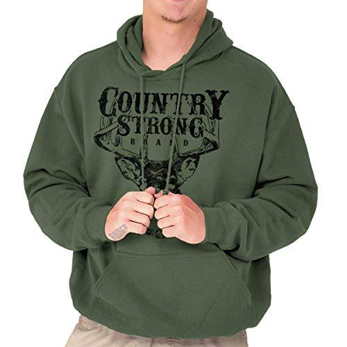 Brisco Brands Country Strong Deer Hunting Western Cowboy Hoodie Military Green