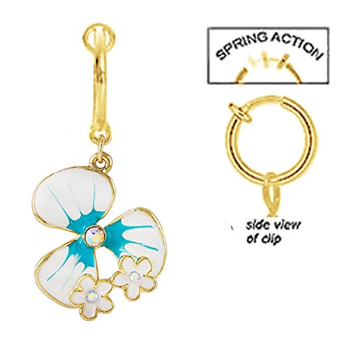 Hawaiin Flowers Blue (Fake Belly Navel Non Clip on Clear Cz gem Gold plated Hawaiin white & blue Flower dangle Ring)