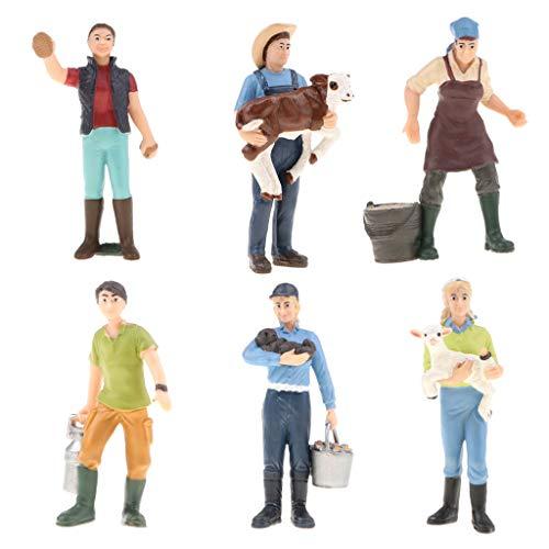 Fityle 6pcs/Set PVC Action Figure Toy, Simulation People Model Figure, Farmer Peasant Figurines Toy