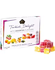 Cerez Pazari Turkish Delight with Strawberry, Peach, Melon, Tangerine, Blackberry Flavours 230gr Gourmet Small Size Snacks Gift Box | No Nuts Sweet Luxury Traditional Confectionery Vegan Soft Candy Dessert Glucose Free Lokum (Loukoumi) Approx. 40 Pcs