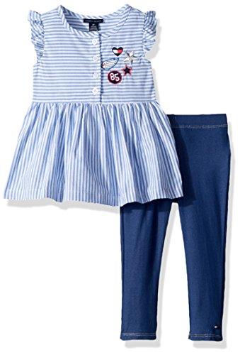 Tommy Hilfiger Girls' Little Tunic Set, Stripes/Parisian Blue, 5