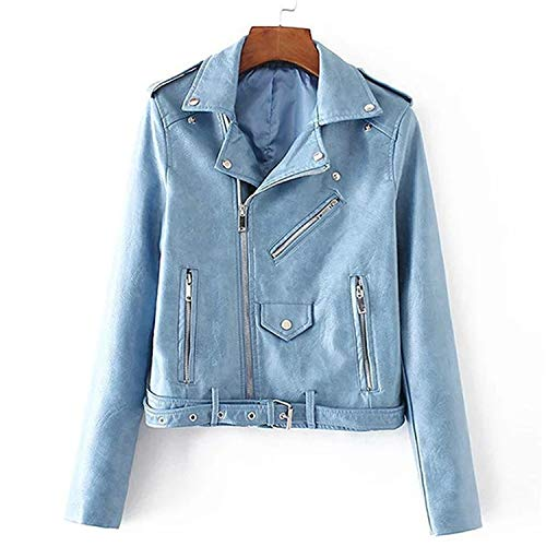 Pragmaticv Artificial Leather Jackets Autumn Street Short Washed PU Jacket Zipper Basic Jackets Slim Fit Women Coats Outwear Light Blue