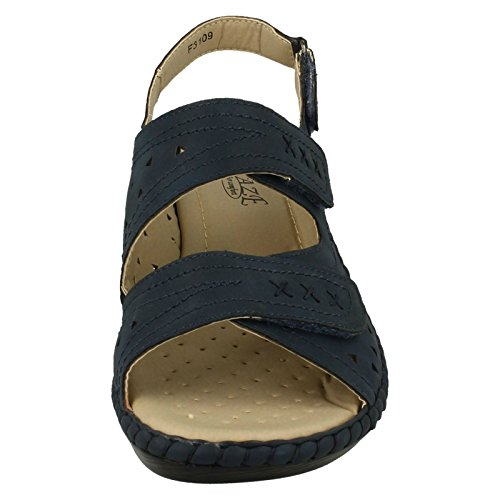 Ladies Eaze Casual Strappy Sandals Navy (Blue) JpYbGD2