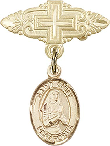 14kt Gold Baby Badge with St. Emily de Vialar Charm and Badge Pin with Cross St. Emily de Vialar is the Patron Saint of Single Laywomen 1 X 3/4