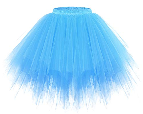 Thing 1 And 2 Halloween Costumes (Bridesmay Women's Tutu Christmas Tulle Skirt 50s Vintage Ballet Bubble Dance Skirts Blue)