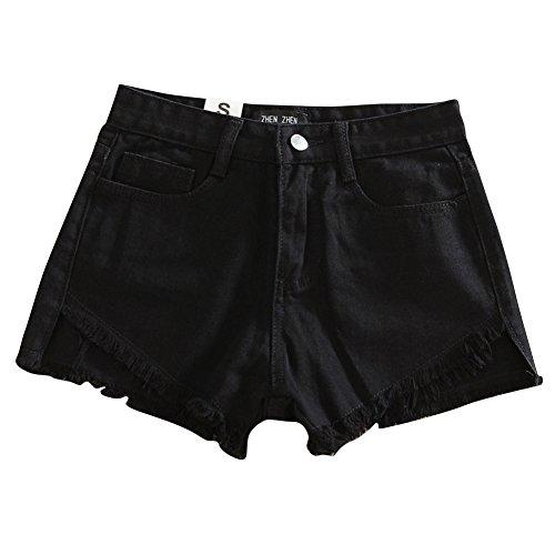 Calzoncini Quge Alta Shorts Vita Donne Estate Caldi Nero Jeans Pantaloni Semplice Pants Pantaloncini Hot qqFBgwSU