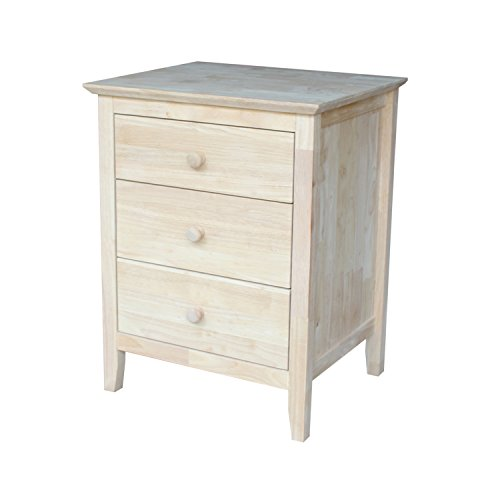 (International Concepts BD-8013 Nightstand with 3 Drawers, Standard)