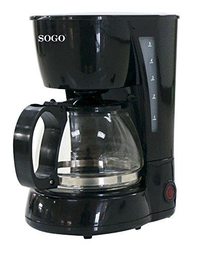 SOGO – Cafetera de Goteo eléctrica para 4 Tazas, 650W, 0,6 L, CAF-SS-5655, Color Negra