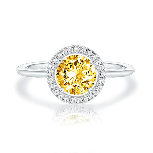Swarovski Crystal 14K White Gold Plated Birthstone Rings | White Gold Rings for Women | Citrine Ring
