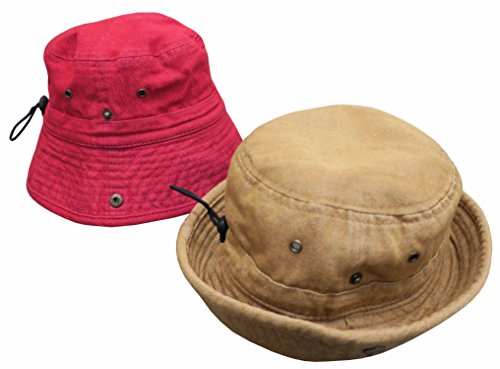 N'Ice Caps Kids Distressed Washed Denim Cotton Adjustable Bucket Hat 2PR Pack (52cm (20.5