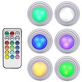 GreeSuit Cabinet Lights with Remote Control, Brightness Adjustable LED Puck Light, Multi Color