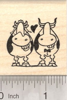 Bride and Groom, Wedding Grinning Cows, Just Married (Bride Rubber Stamp)