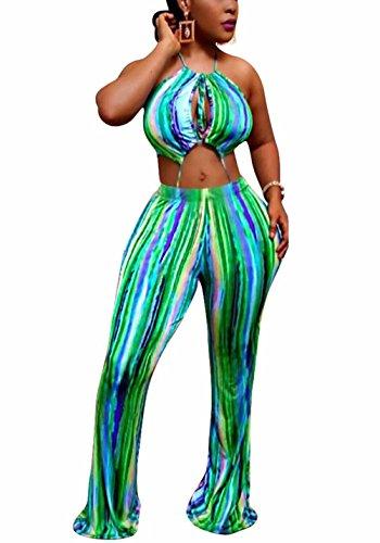 Stripe Halter Green (Adogirl Women Halter Stripe Jumpsuit Clubwear Wide Leg Cut Out Long Pant Romper Green S)