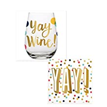 Yay Wine 20 Ounce Stemless Glass + Yay! Napkins 20 Count