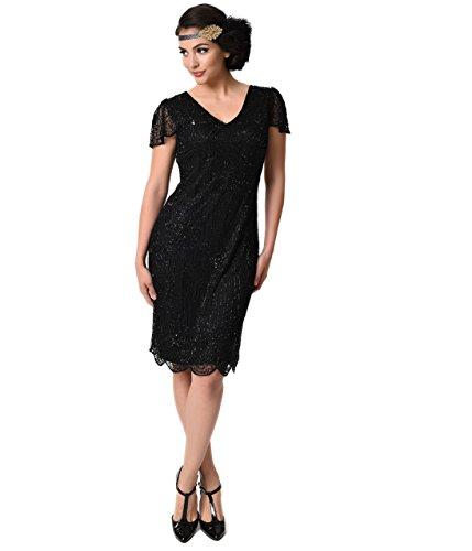 Beaded Sleeve (1920s Style Black Beaded Cap Sleeve Edwardian Flapper Dress)
