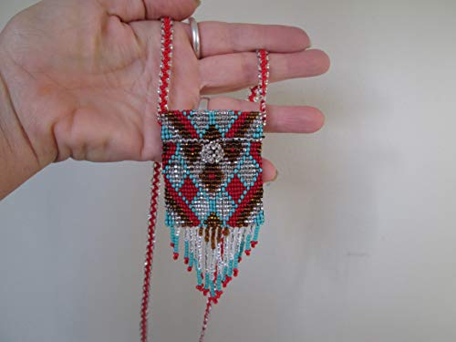 white red gold turquoise cross medicine Hand beaded Guatemalan central american Native design medicine bag stash pouch necklace fair trade southwest glass beads Aztec Indian design Ethnic beads bead