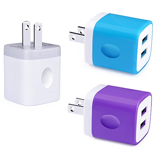 Phone Charger Box, FiveBox 3 PACK Dual Port USB Wall Charger Block Cube Base Charging Plug Dock Charger Brick Case for iPhone X/8/7/6s/6 Plus, iPad, Apple, Samsung Galaxy S8/S7/S6 Edge, Android, HTC