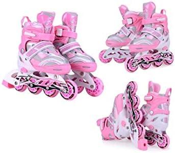インラインスケート四輪フリーサイズメタルダスト画面アルミ合金ブラケットPP繊維素材の靴シェル優秀なギフト良い選択 (Color : Pink, Size : Shoes+full equipment)