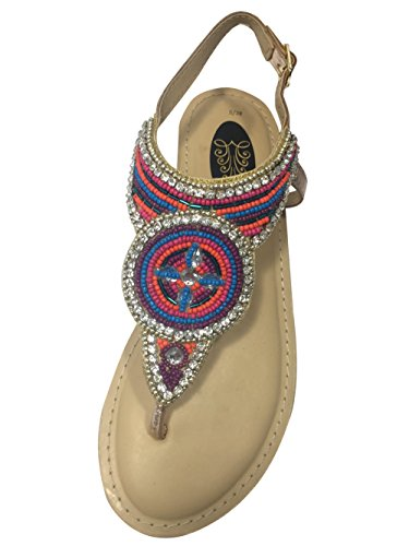 Womens Ladies Hawaii Flat Leather Sandals Jewel Diamante Beaded Embellished Beach Summer Casual Toe Post Padded Sole Cushioned Slingback Holiday Shoes Open Toe Slip On Flats Size e41nluze