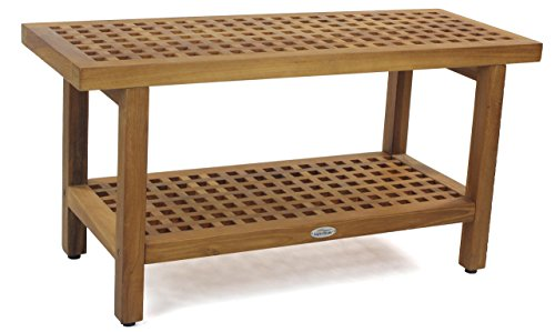 AquaTeak The Original 36' Grate Teak Shower Bench with Shelf