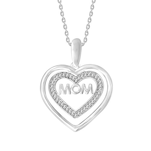 - 10K White Gold Round Diamond MOM Heart Pendant with 18