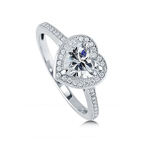 BERRICLE Rhodium Plated Sterling Silver Heart Shaped Cubic Zirconia CZ Halo Promise Engagement Ring 1.34 CTW Size 7 (Heart Shaped Engagement Rings)