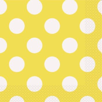 Yellow Polka Dot Paper Napkins, -