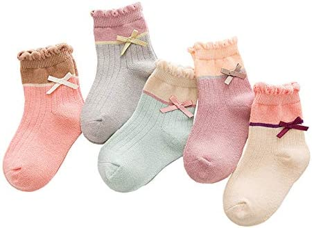 CHUHUI子供用靴下綿の靴下ミドルチューブ弓男性と女性秋と冬