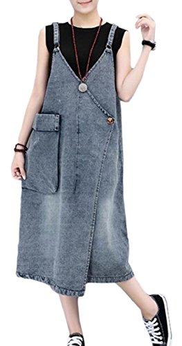 Le Modo Tasche Allentato Donne Lavati Di Con Denim Jaycargogo Vestito Blu Camici YSCqIF
