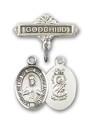 Sterling Silver Baby Badge with Scapular Charm and Godchild Badge Pin