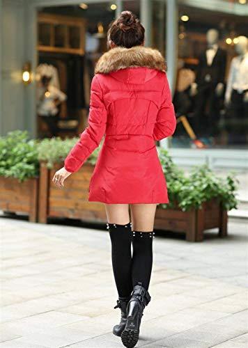 Fashion avec Manteau Longues Coat Hiver Manches El Fausse Fourrure Femme Capuche Slim Fit en Rdawx76q