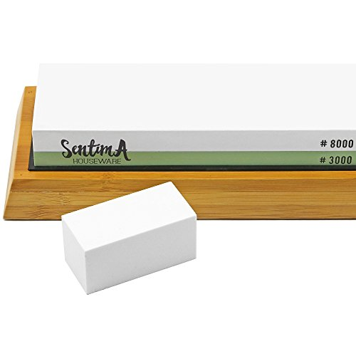 Premium Whetstone Knife Sharpener - 3000/8000 Grit Two Sided Wet Sharpening Stone - Bamboo Base & Flattening Stone by Sentima (Image #2)