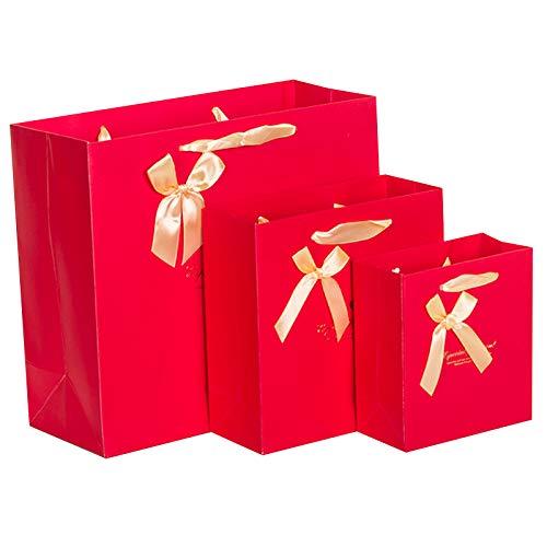 Culturemart 5PCS Gift Paper Bag Packaging Shopping Bag Wedding Birthday Gift Bag Flower Blue Ribbon Bow 14157cm 20208cm 302712cm