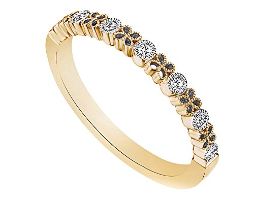 Round Cut White Natural Diamond Floral Inspired Stackable Wedding Band (0.08 Carat) by Wishrocks