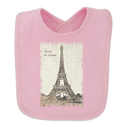 Paris, Je t'aime I Love You Eiffel Tower City Map Baby Bib - Pink