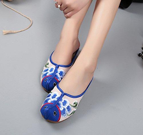 Avacostume Broderie De Poissons Femmes Exotiques Style Slip Sur Pantoufles Bleu