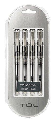 TUL Rollerball Pens, 0.7mm Medium Black, 4-Count