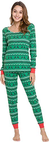 GYS Womens Rib Cotton Fitted Christmas Print Pajama Set