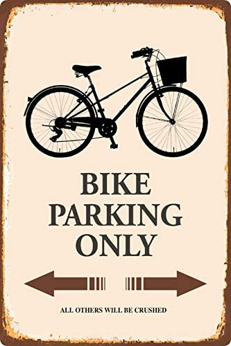 Cartel de chapa 20 x 30 cm curvado Bike Parking Only bicicleta Deko regalo Cartel