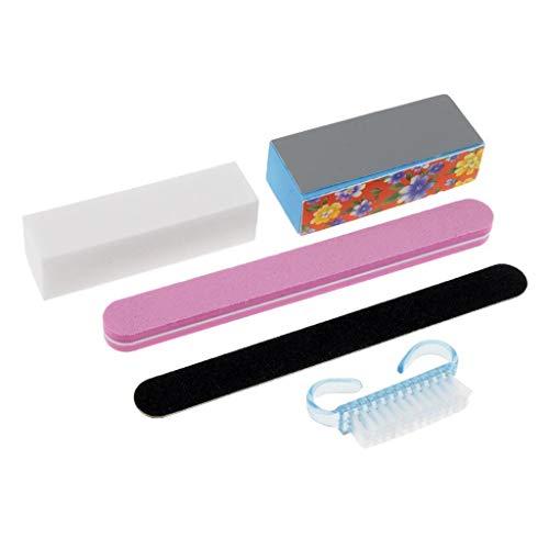 5x/Set Cleaning Brush Buffing Sanding Files Nail Buffer Block Pedicure Tools -