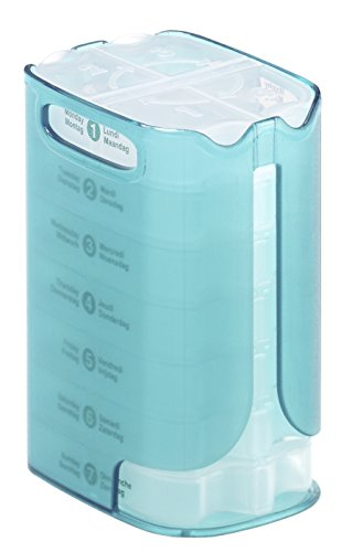 Rotho Pillendose 4 Fächer WELL BEING, Medikamentenbox für 7 Tage mit Dispensern in türkis / transparent, ca. 10 x 7 x 13 cm