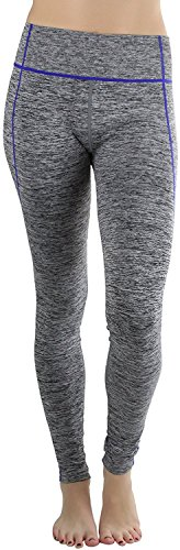 fan products of Sportoli Womens Active Performance Athletic Compression Fit Yoga Pants Leggings - Heather Grey/Royal Blue Stitching (2XL/3XL)