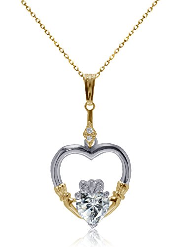 De Lelu Yellow Gold and Sterling Silver Claddagh Heart Cubic Zirconia Pendant Necklace, 16