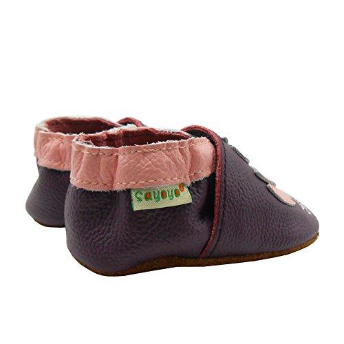 Sayoyo Suaves Zapatos De Cuero Del Bebé Zapatillas Ganso púrpura